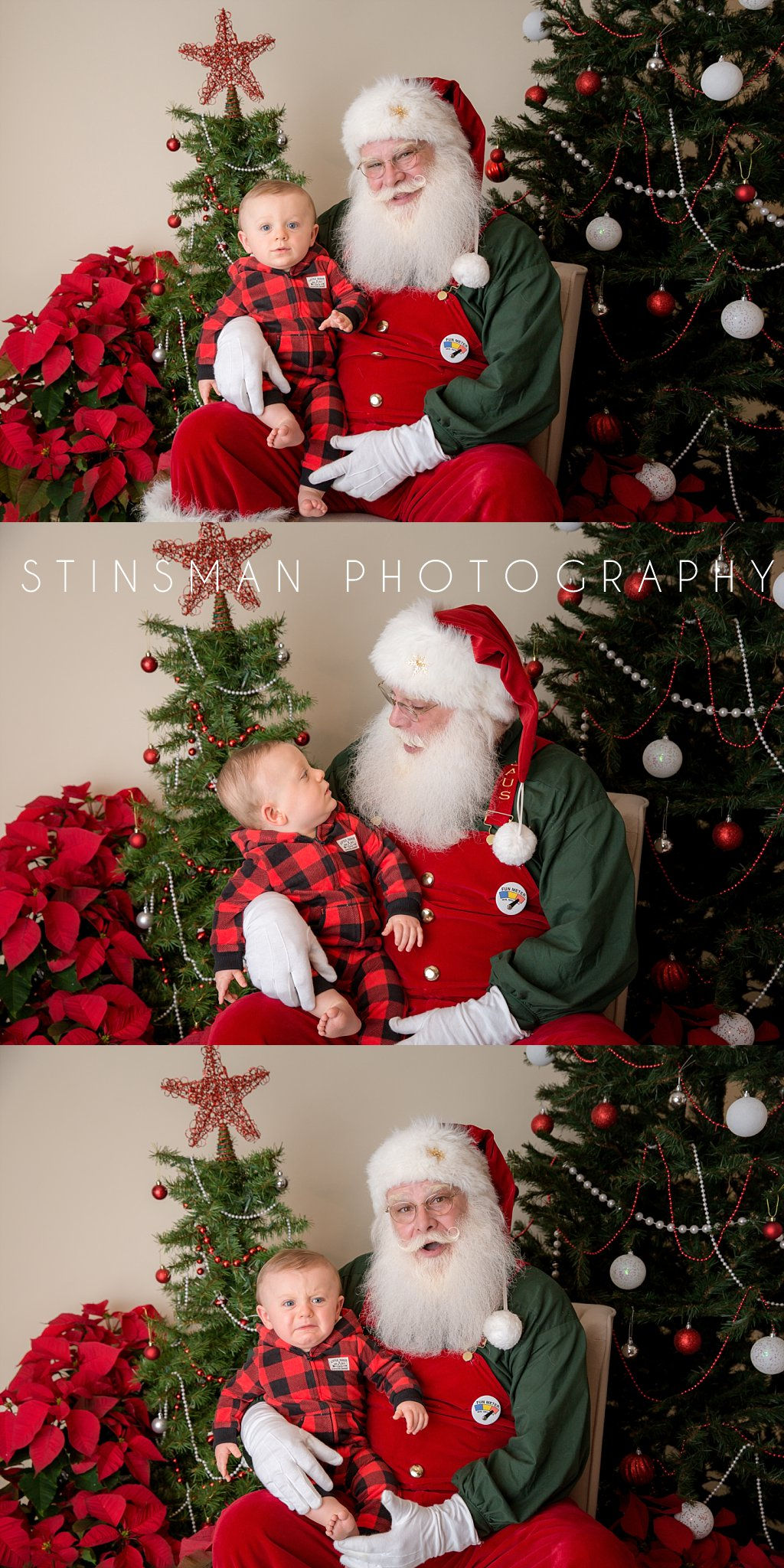 baby boy starts to cry while sitting on santa's lap new jersey photographer