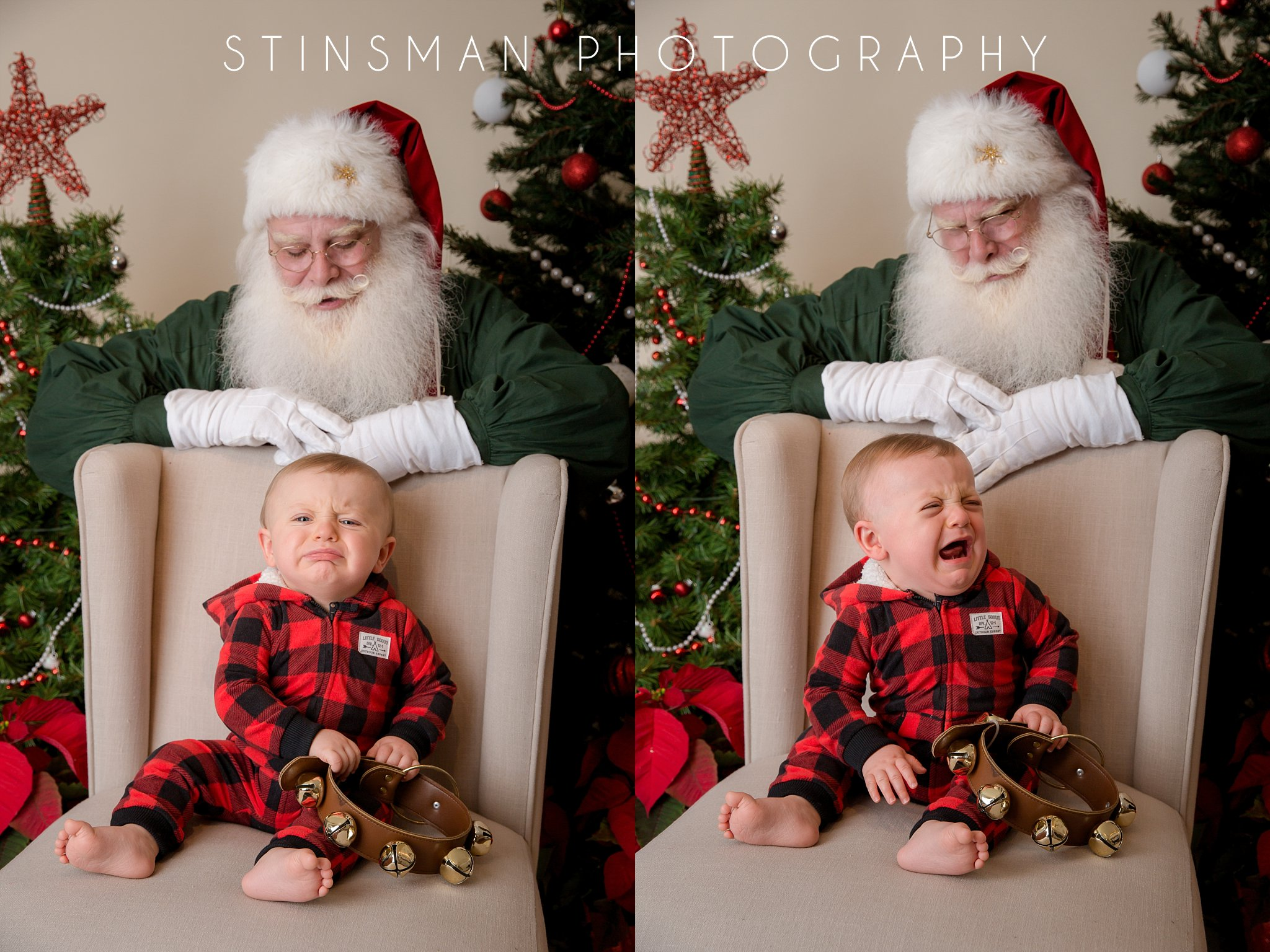 little boy wearing red plaid does not like santa south jersey photographer