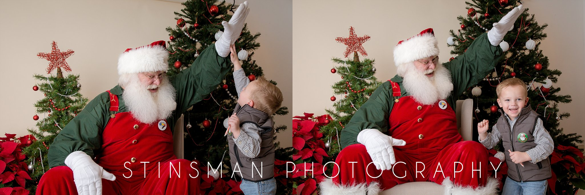 santa giving a high five to a young boy south jersey photographer