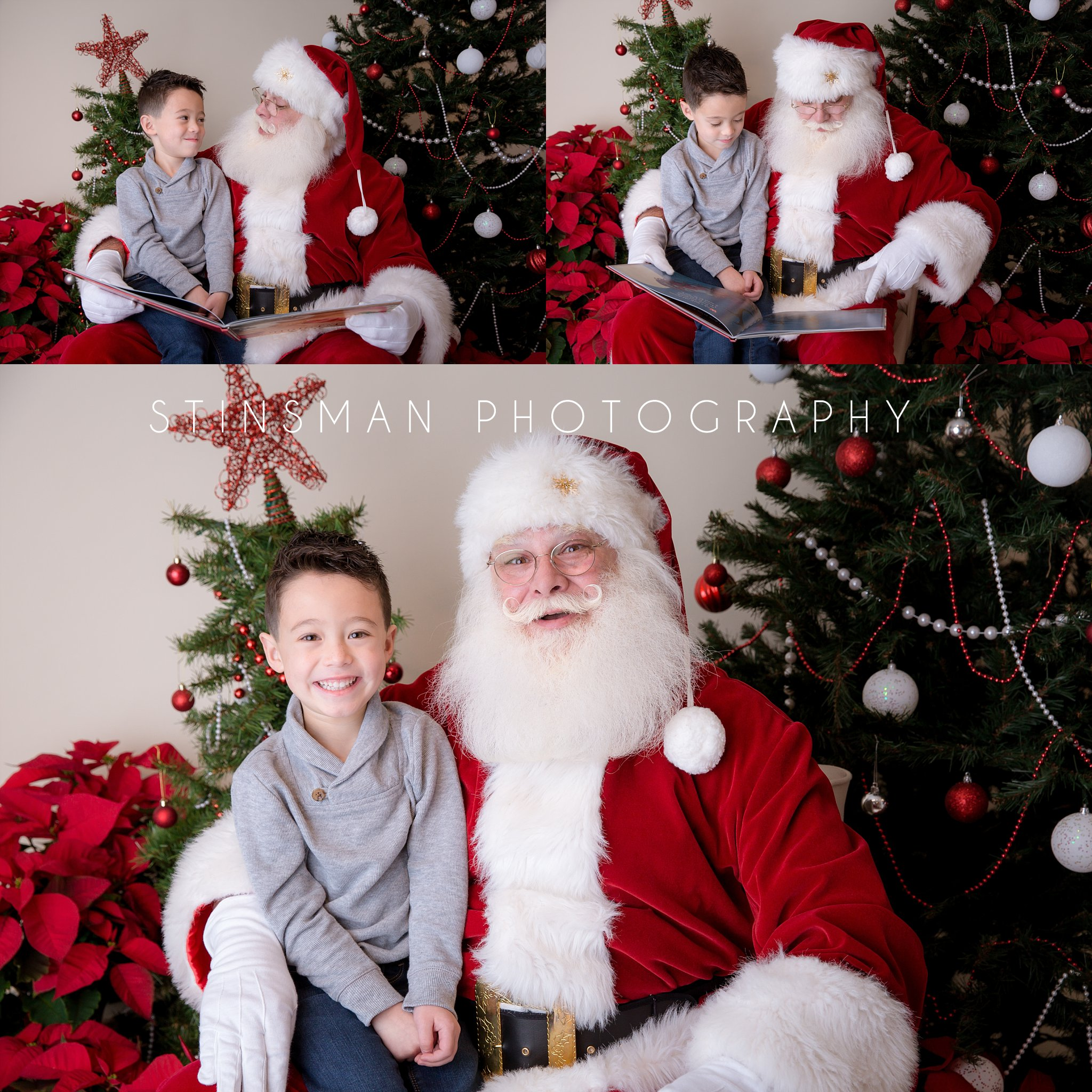 5 year old boy sitting on santa's lap in southern new jersey