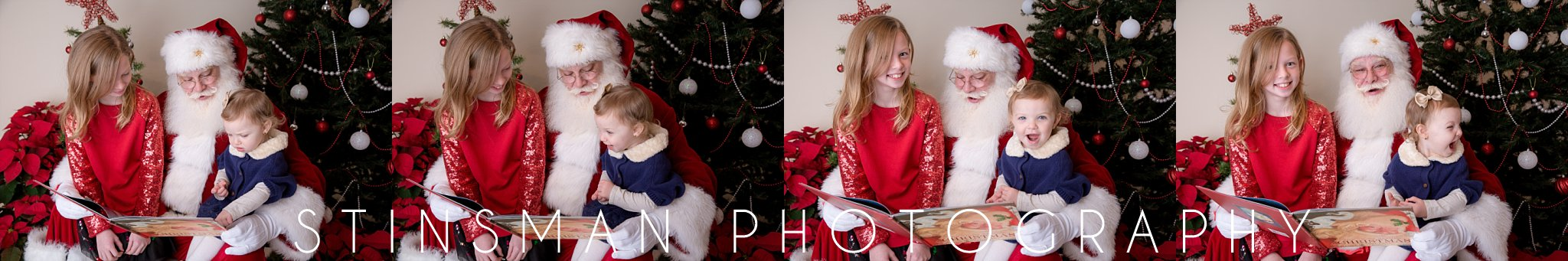 santa reading a short to sisters in south jersey photography studio