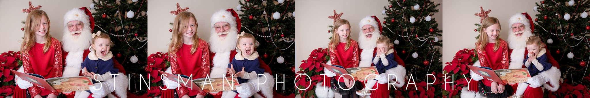 little girl laughing to santa's story in south jersey photography studio