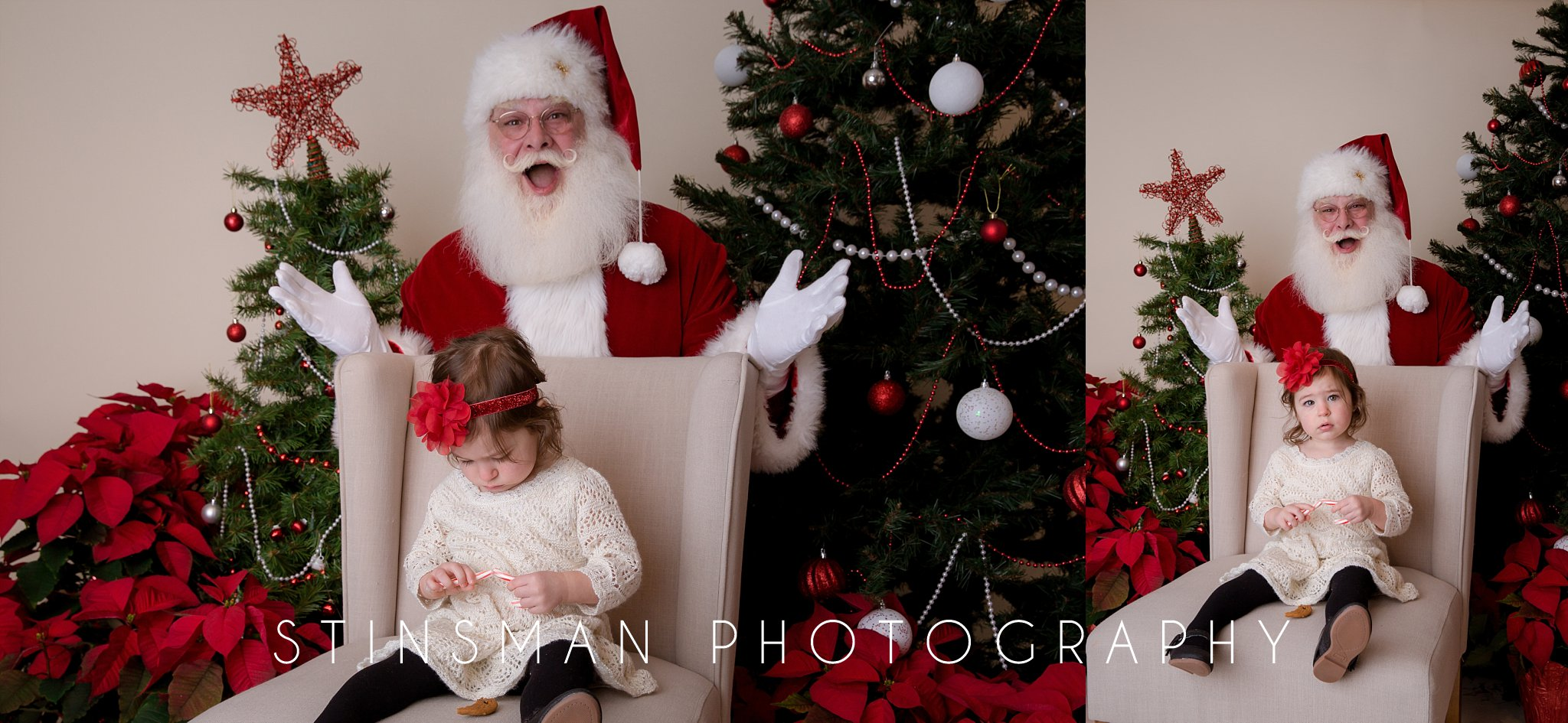 little girl is more interested in her candy cane then santa clause in south jersey photography studio