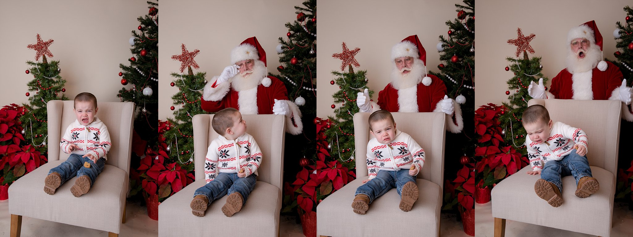boy crying when he saw santa clause in south jersey photography studio