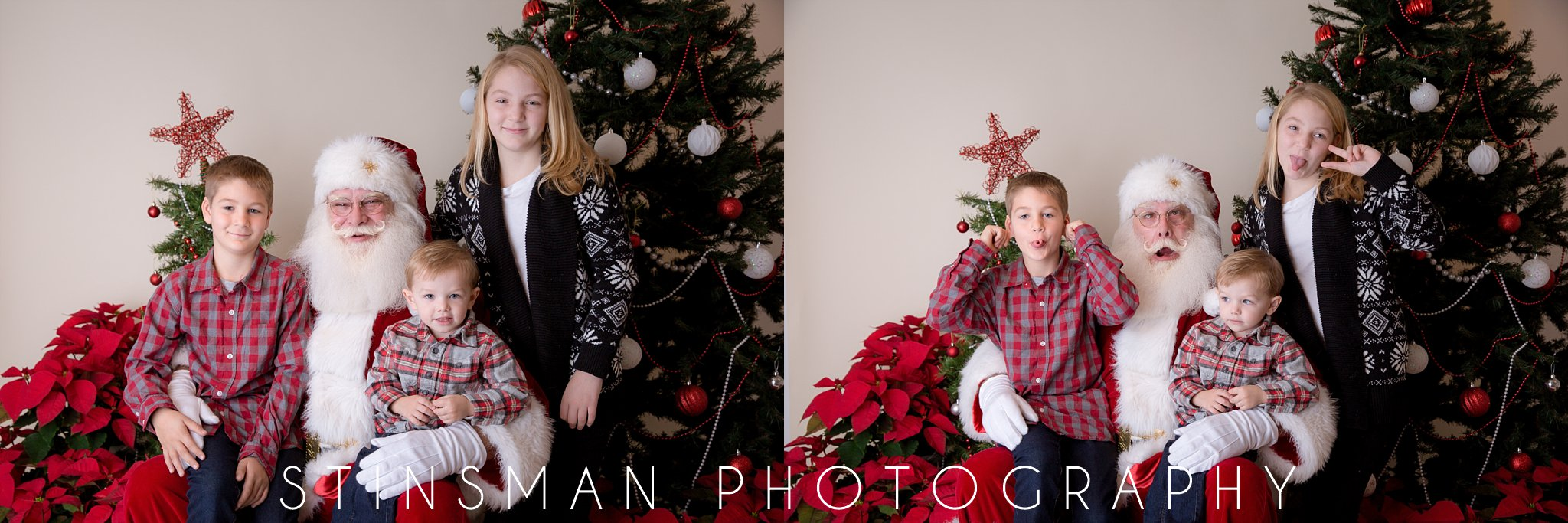 santa making funny faces with a family south jersey photographer