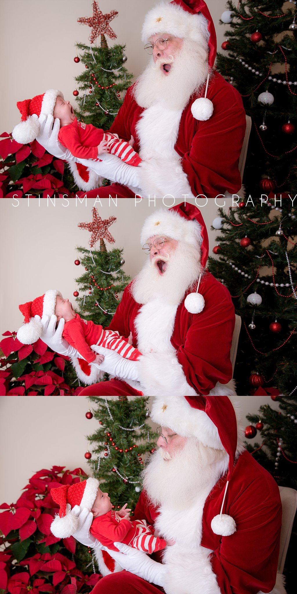 preemie baby and santa yawning in new jersey photography studio