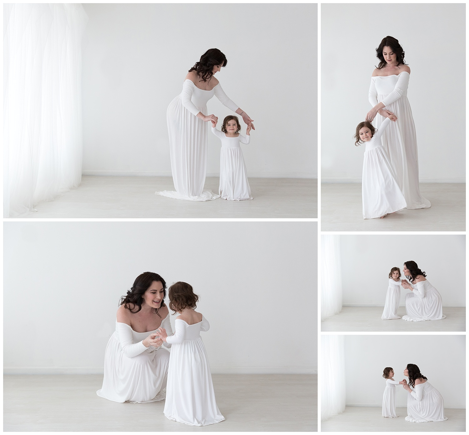 pregnant mom and daughter wearing white and dancing in the white studio in burlington nj for pregnancy photos