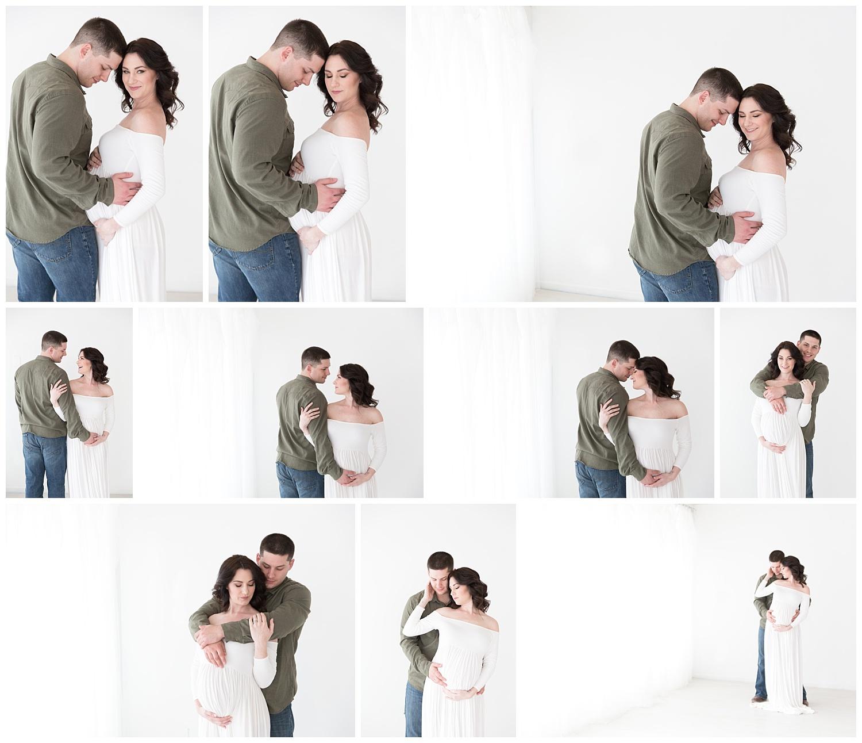 mom and dad posing fpr pregnancy photos in burlington nj