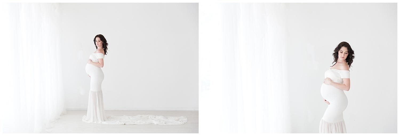 mom wearing a long white for pregnancy photos in burlington nj