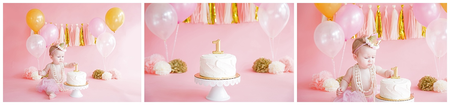 one year old girl cake smash in burlington nj with the colors pink and gold her her birthday photos