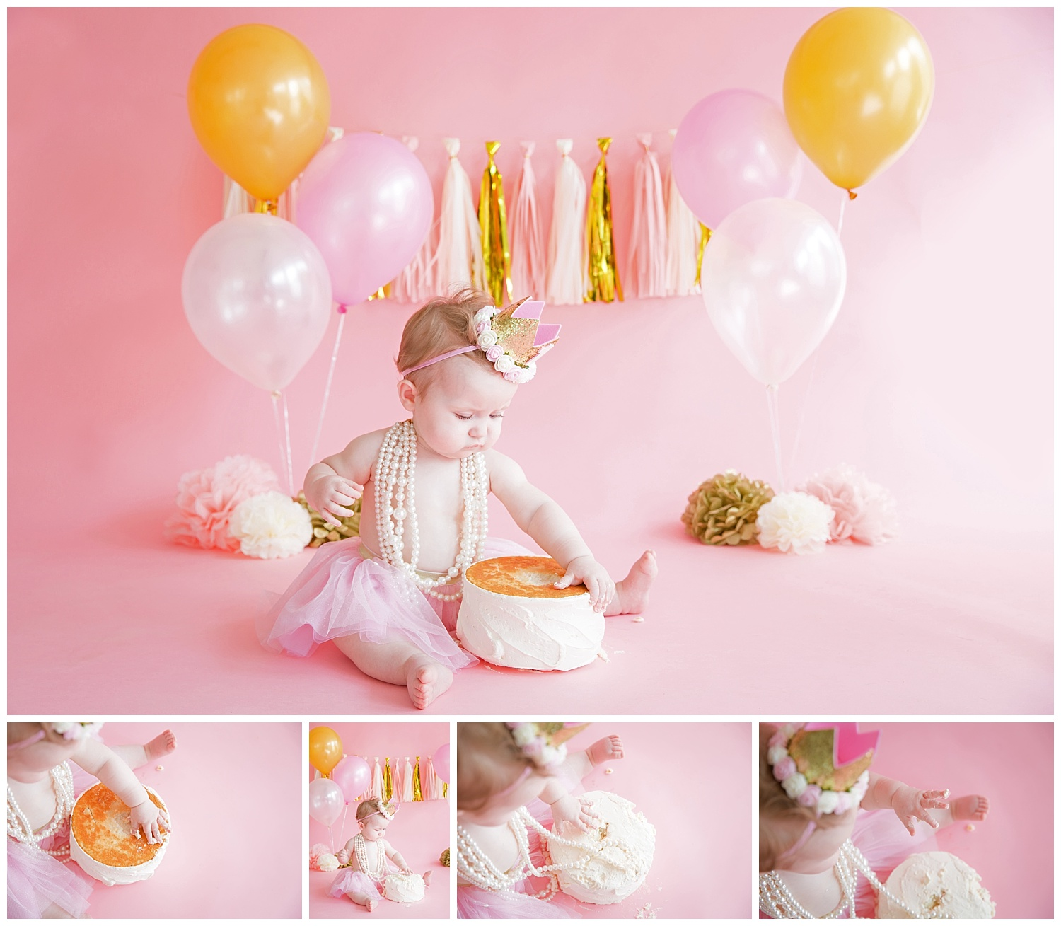 baby girl playing with her white cake for her birthday photos