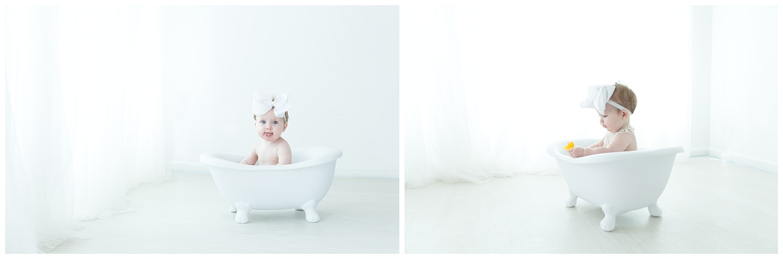 little girl in a tub after her cake smash in burlington nj