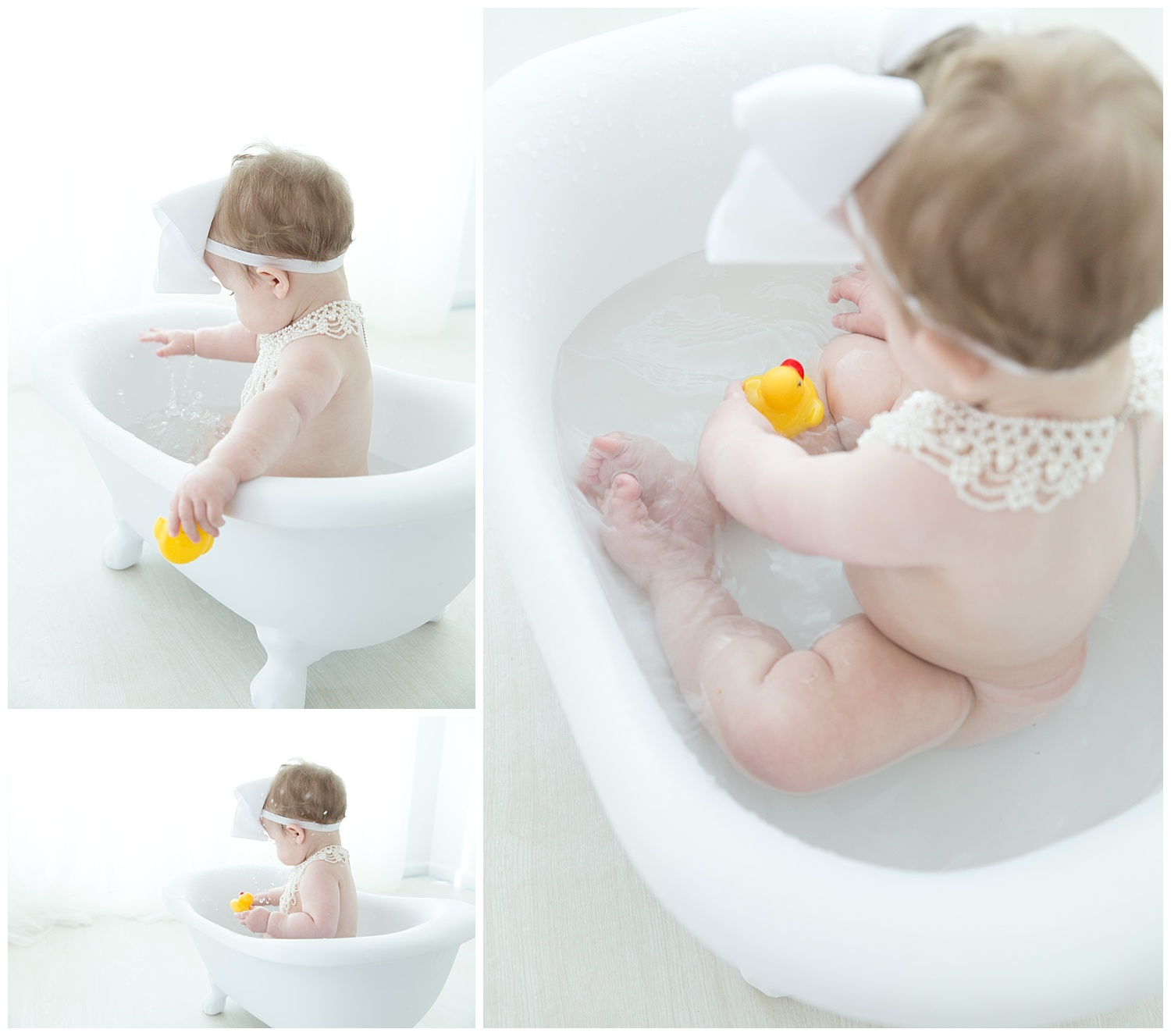 baby girl playing in the tub with her rubber duckies in burlington nj