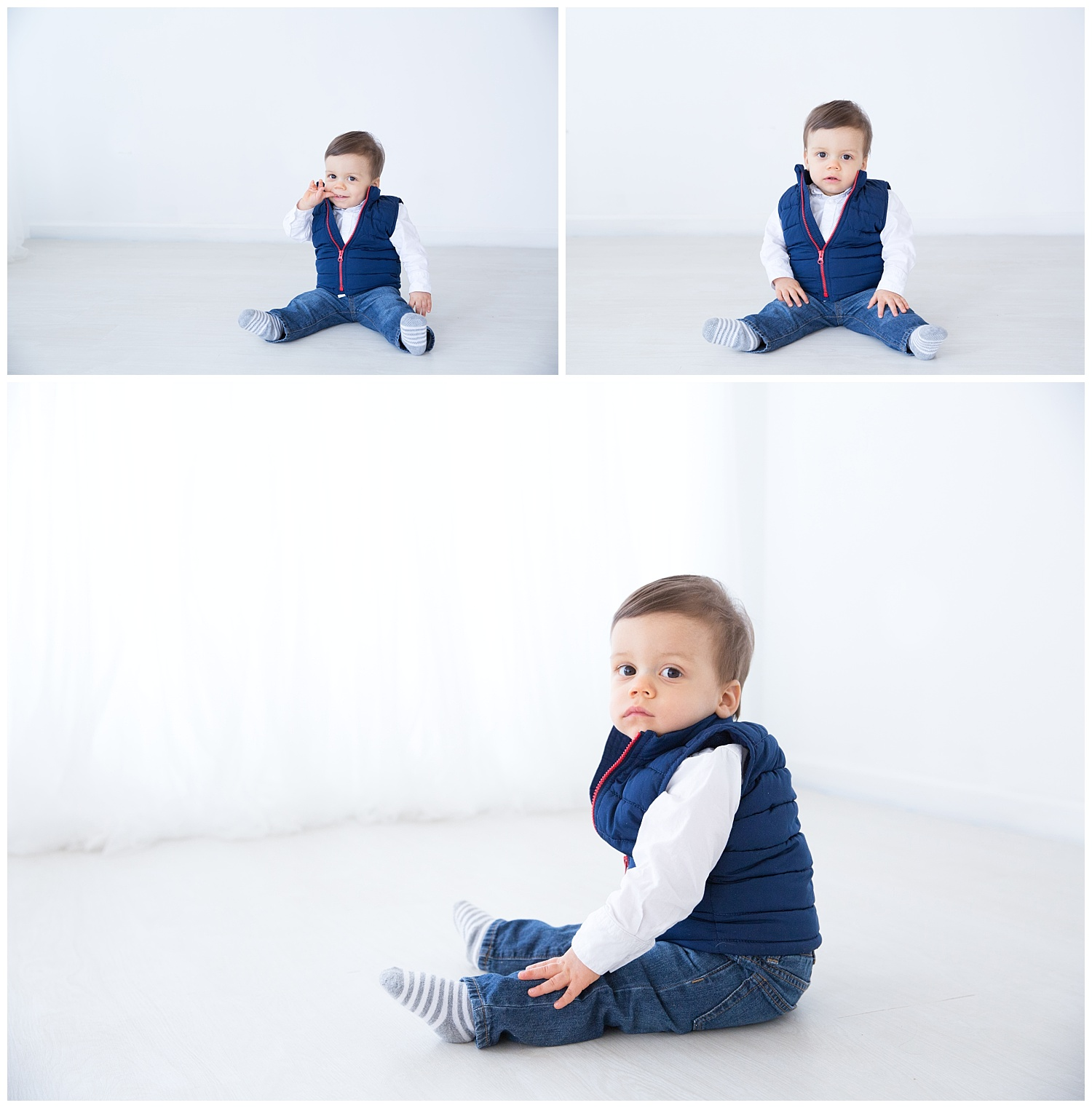little boy on his first birthday wearing a dark blue jacket in burlington nj
