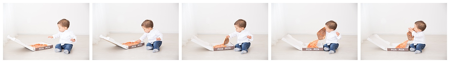 first year birthday photos eating pizza in burlington new jersey wearing a white shirt and blue jeans
