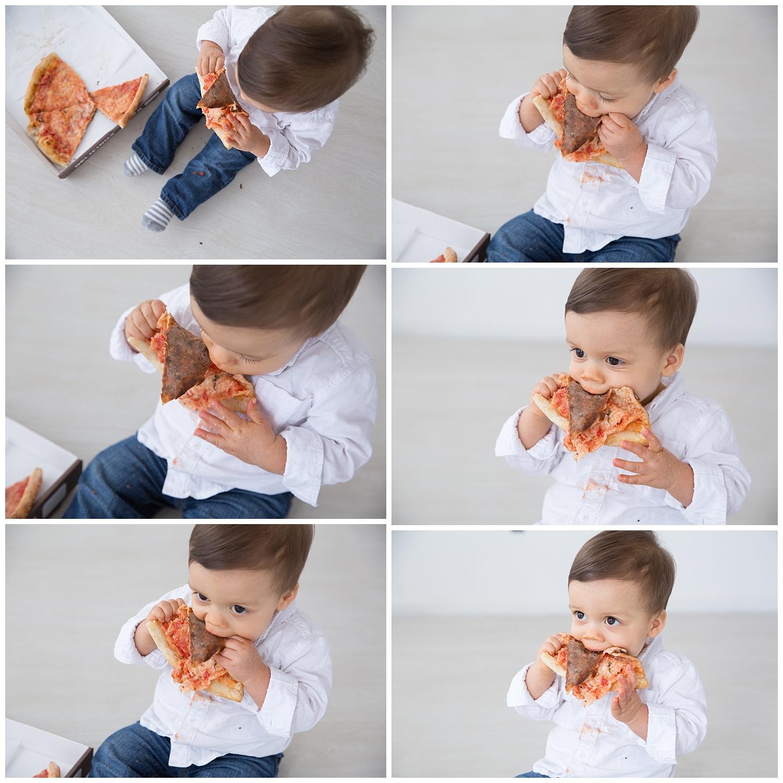 first birthday photos in studio burlington new jersey eating pizza