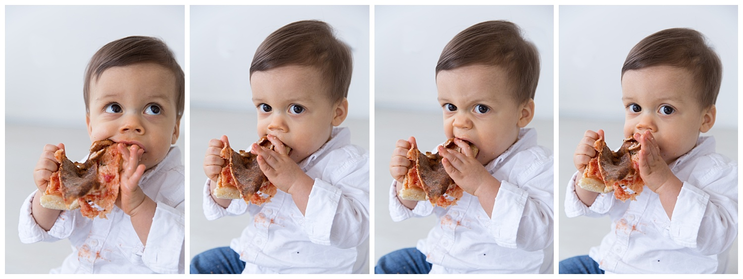 one year old boy pizza expressions for his first birthday photo shoot in burlington new jersey