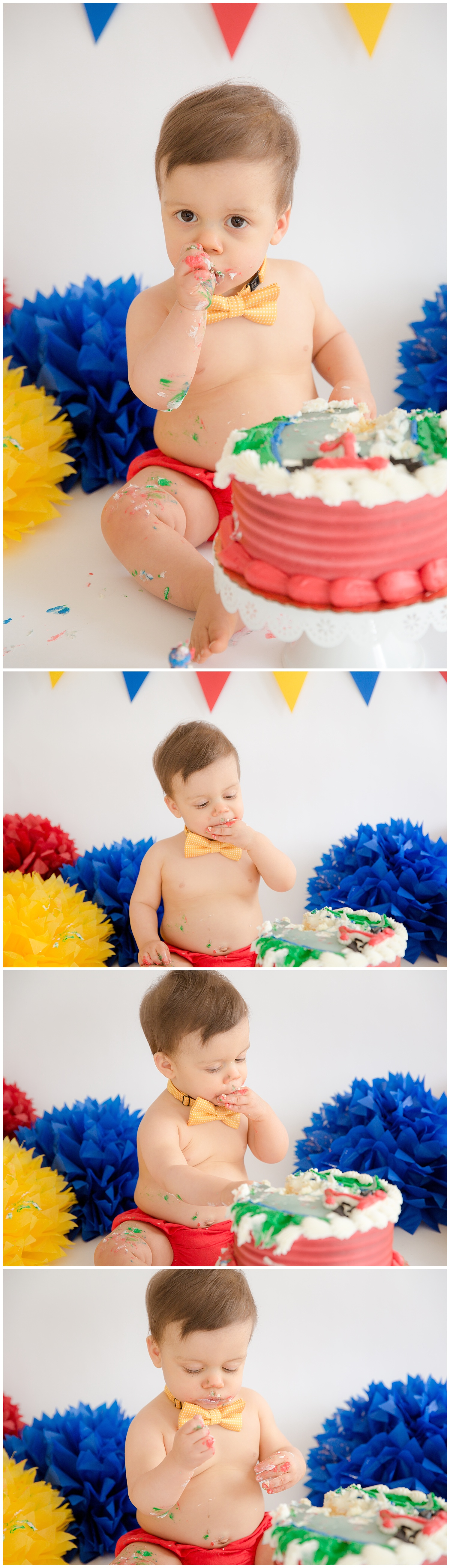 little boy sucking his thumb during his first birthday cake smash