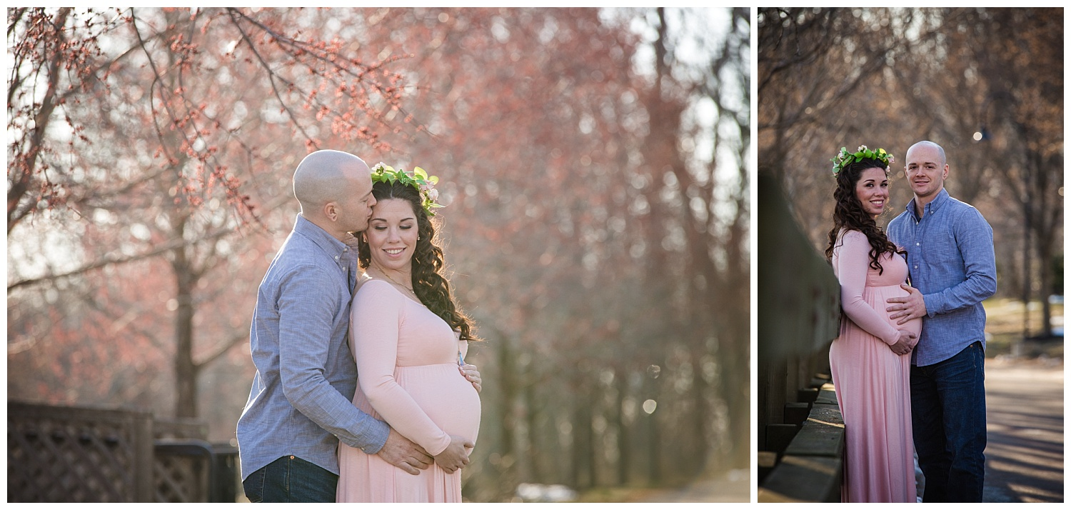 beautiful mom wearing pink and a flower crown for her maternity photos in mount holly smithville mansion