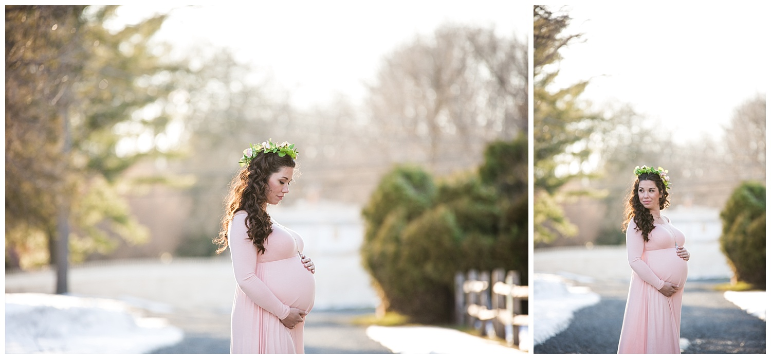 pregnant mom wearing pink during her maternity photo shoot in mount holly new jersey