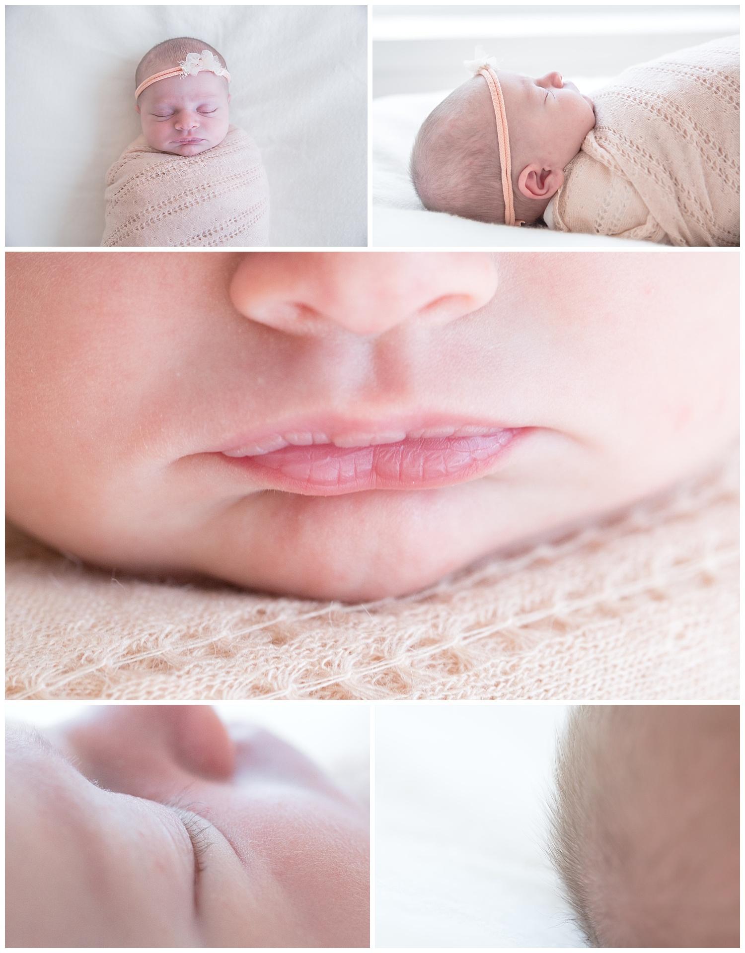 baby photo details lips, eye lashes, fingers, nose in burlington new jersey photo studio