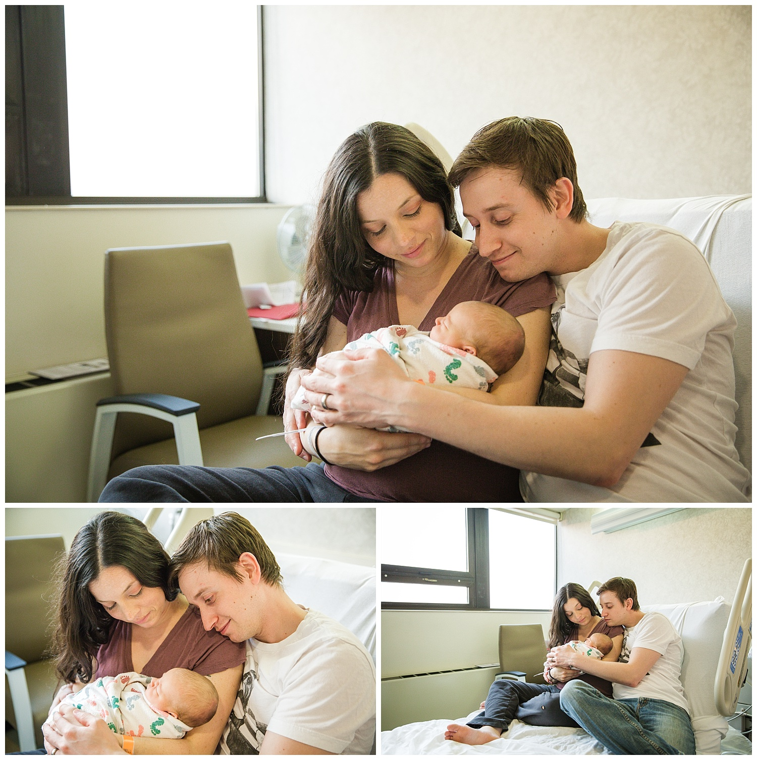 mom and dad holding their newborn baby girl in cooper hospital camden new jersey