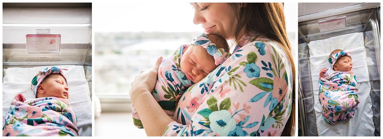Mom holding her baby girl in lourdes medical center in camden new jersey
