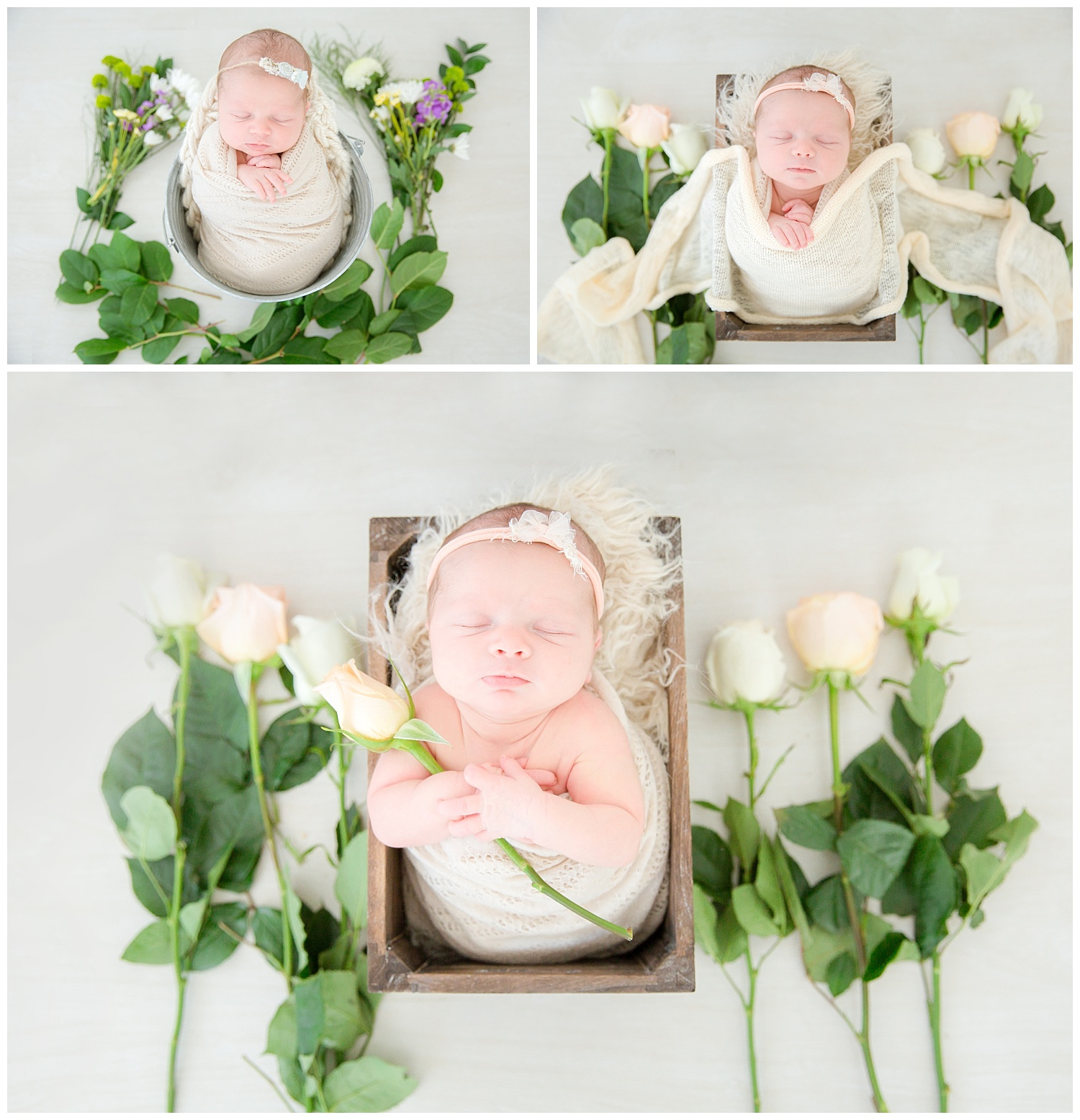 baby surrounded by wild flowers and roses for her newborn photos in burlington new jersey