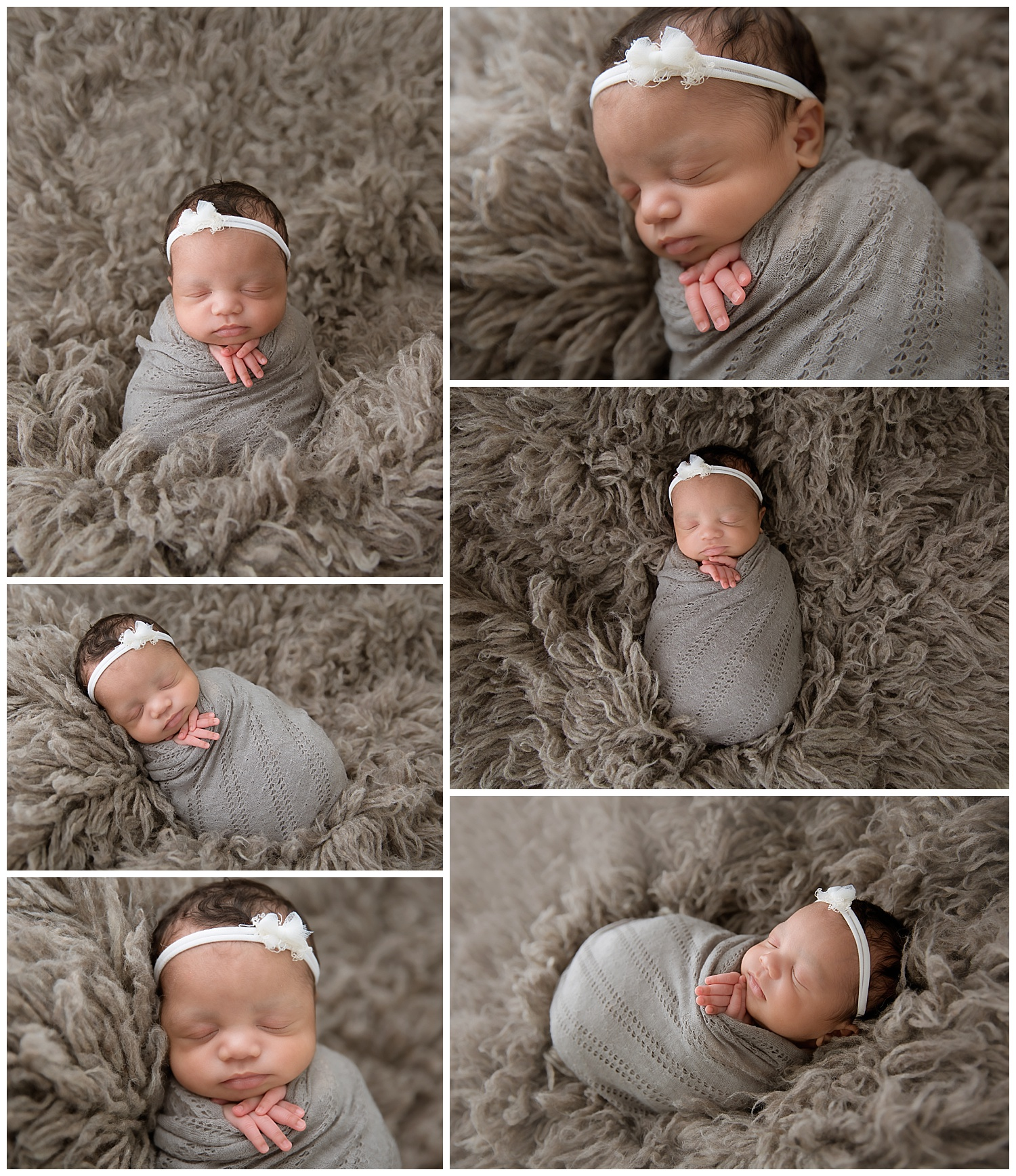 baby girl wrapped in grey in south jersey photography studio