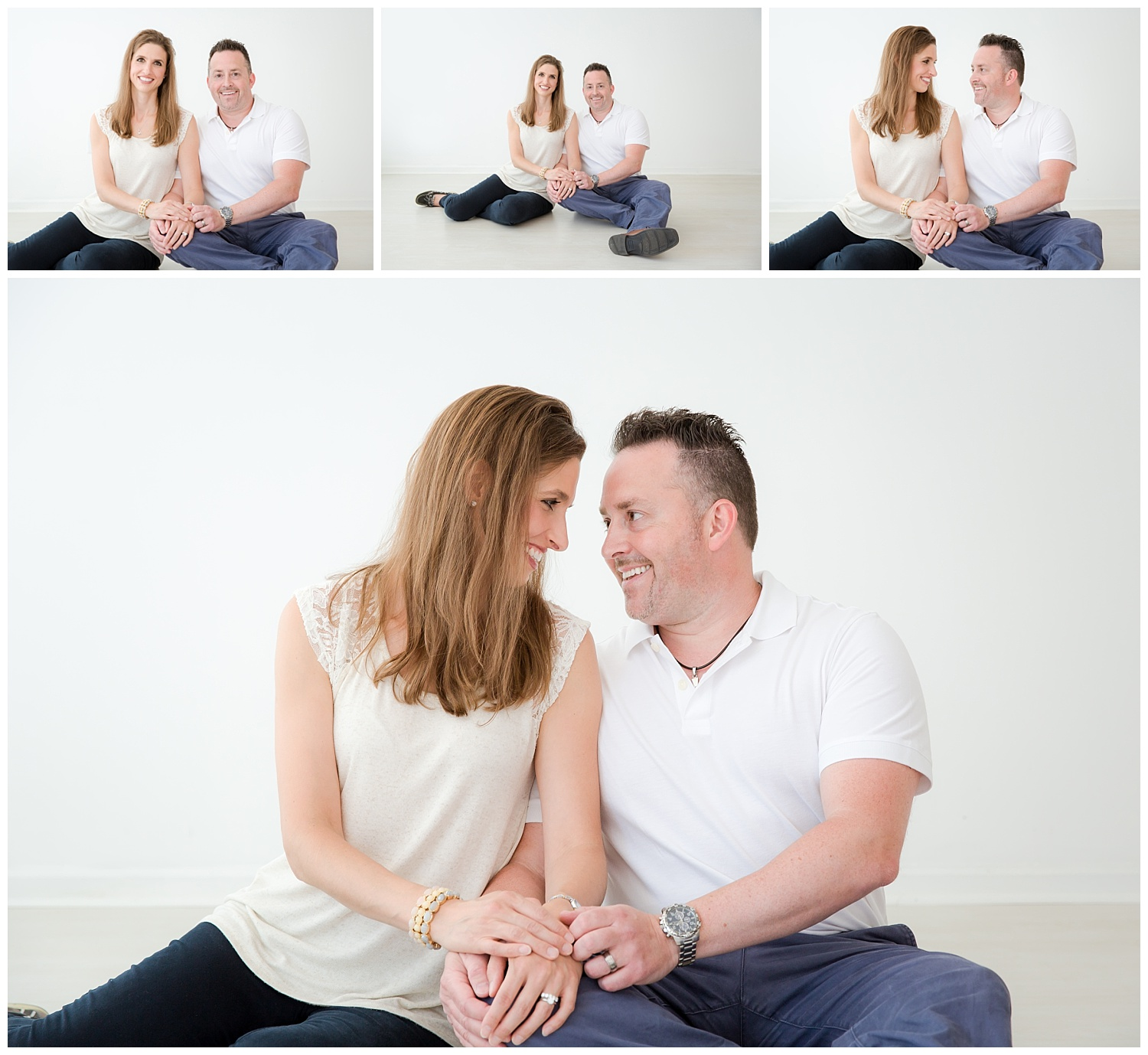 mom and dad holding hands and posing in moorestown new jersey photo studio