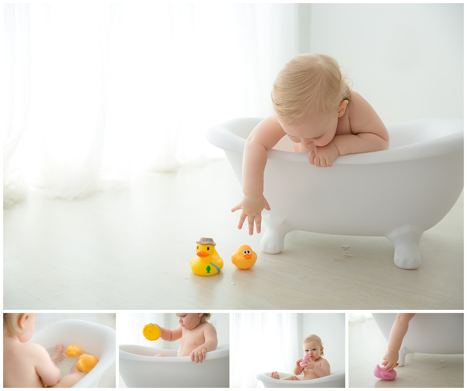 baby girl reaching for her duckies outside of claw foot tub in moorestown new jersey photo studio