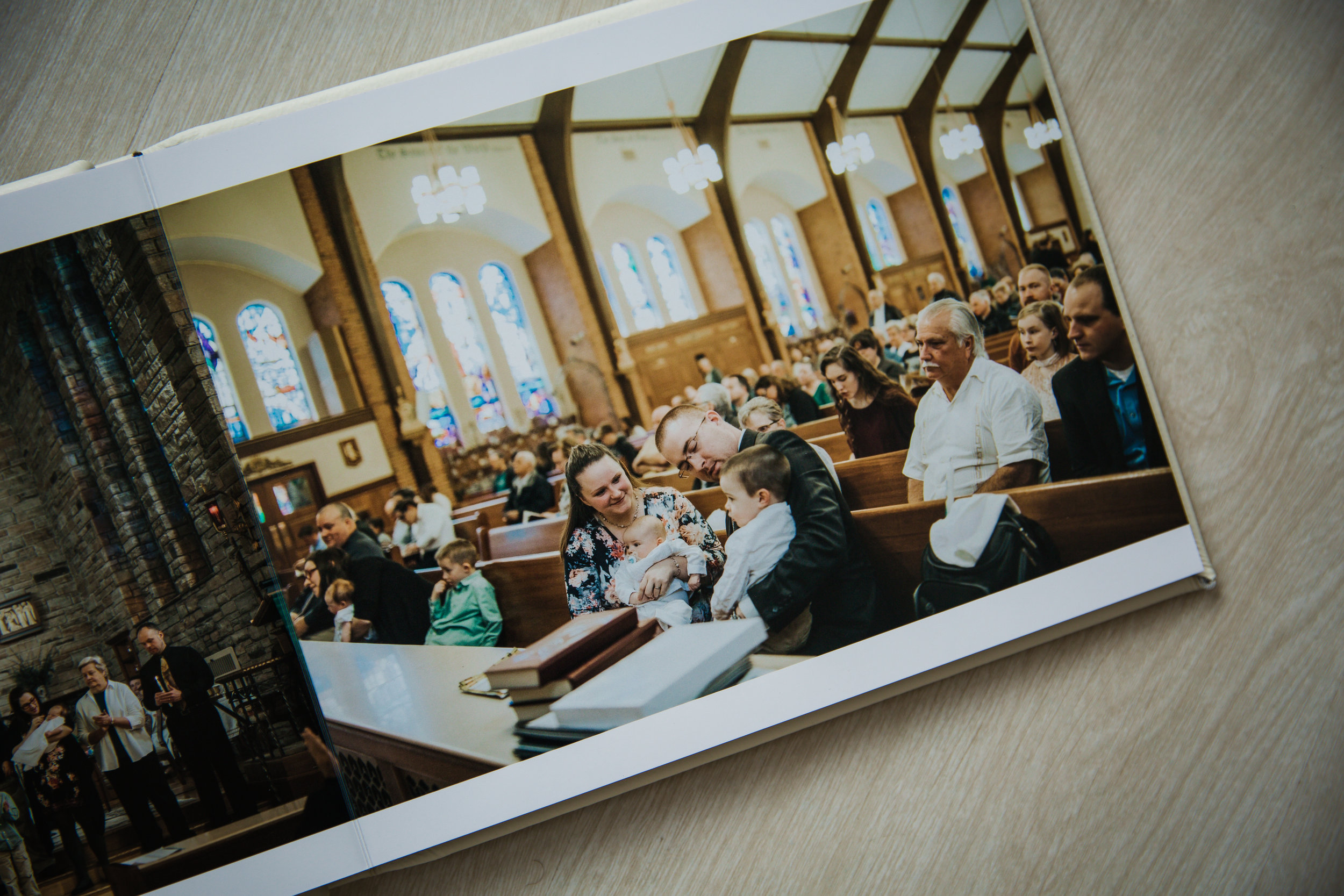 white beautiful custom album of a baptism in burlington nj