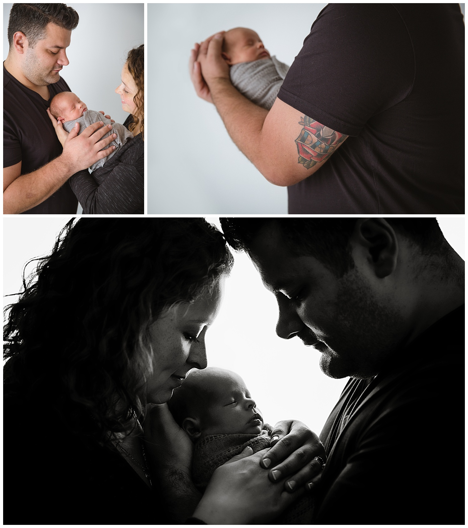 dad holding his newborn baby boy named chris and his dad tattoo with a black andwhite portrait of mom and dad in moorestown new jersey photo studio