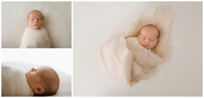 little baby boy details in moorestown new jersey photo studio wearing a cream wrap and cream felt