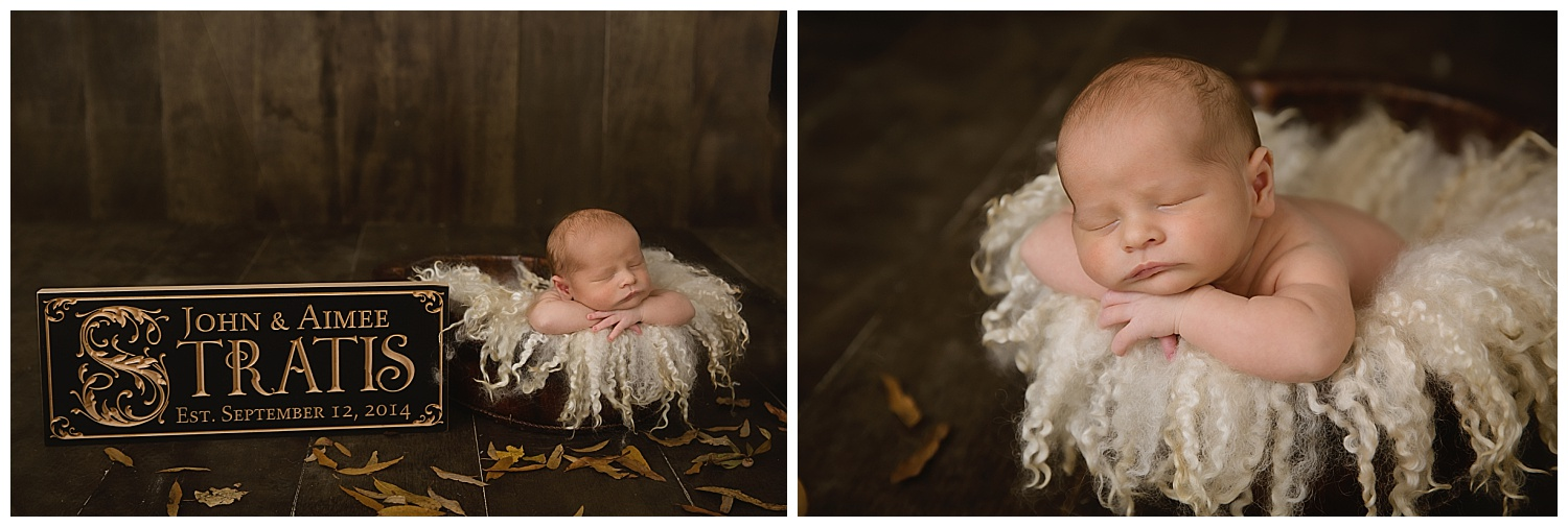 baby plaque from their wedding with newborn baby boy named chris in moorestown new jersey studio