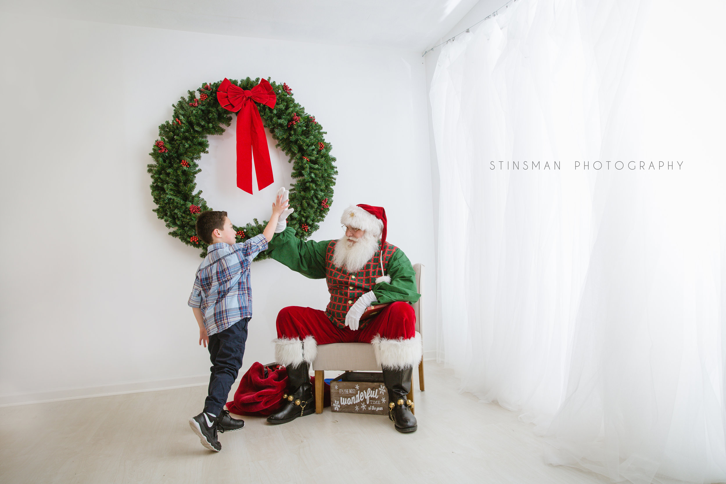 Dancing with Santa at burlington nj photo studio