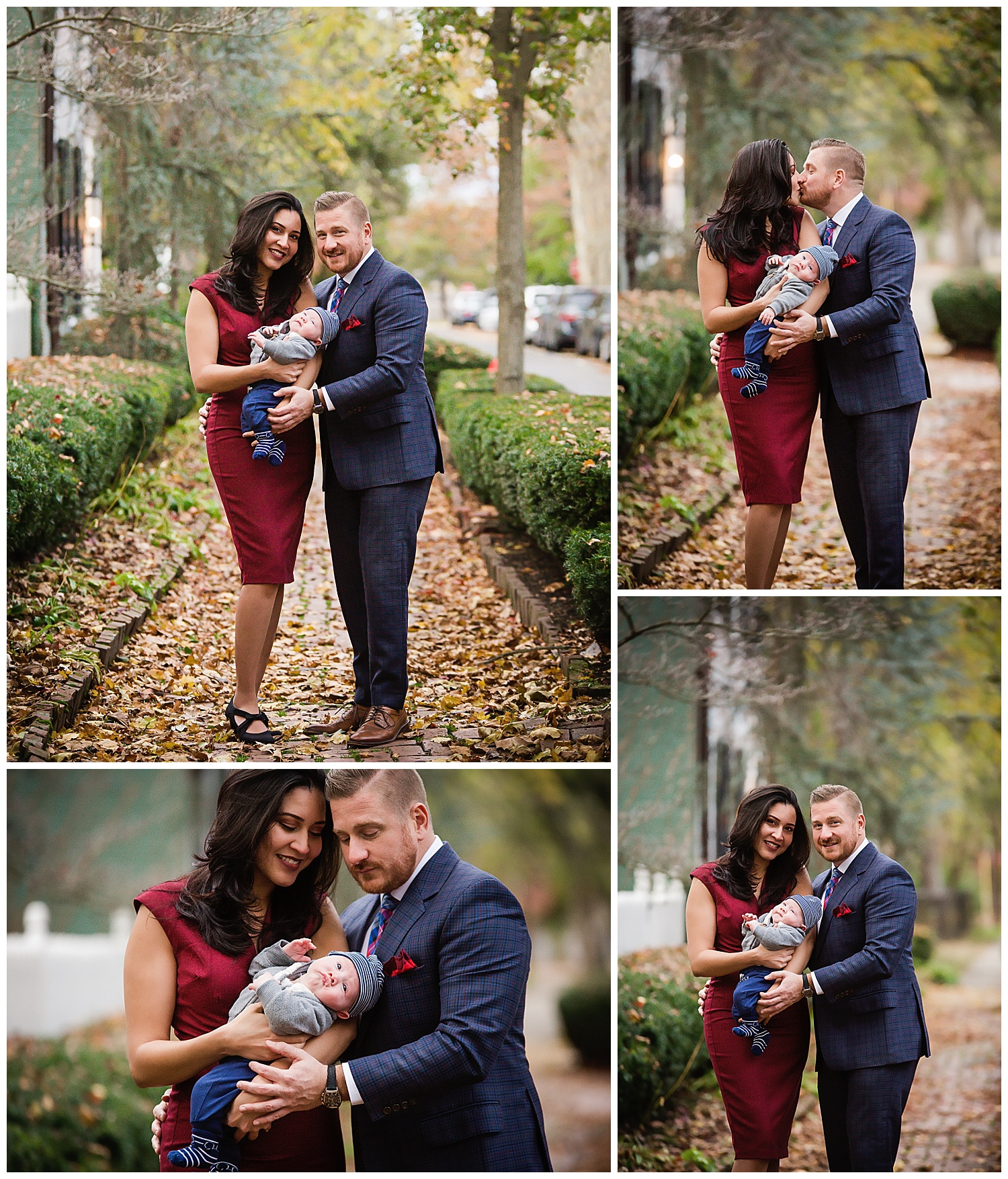 fall family photos in burlington new jersey with family in formal outfits on a brick walkway