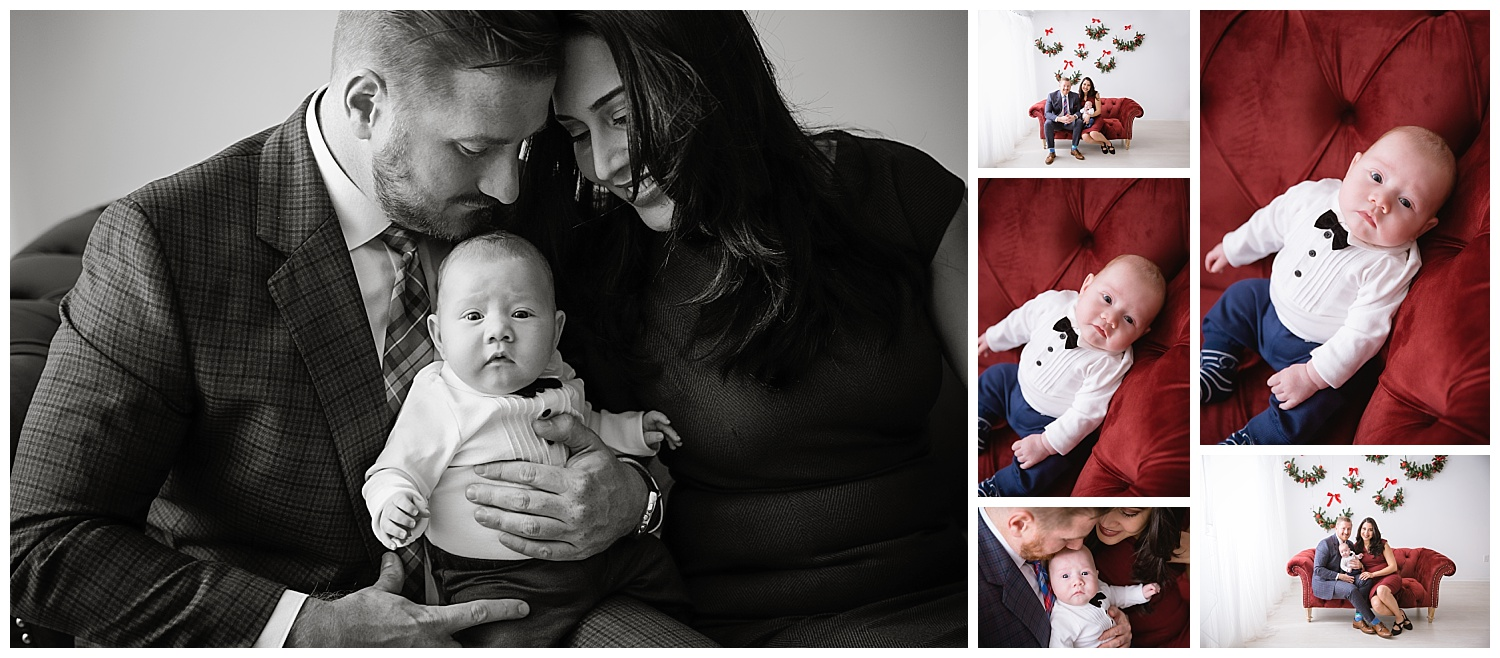 timeless family portraits in black and white with a holiday theme in burlington moorestown new jersey studio