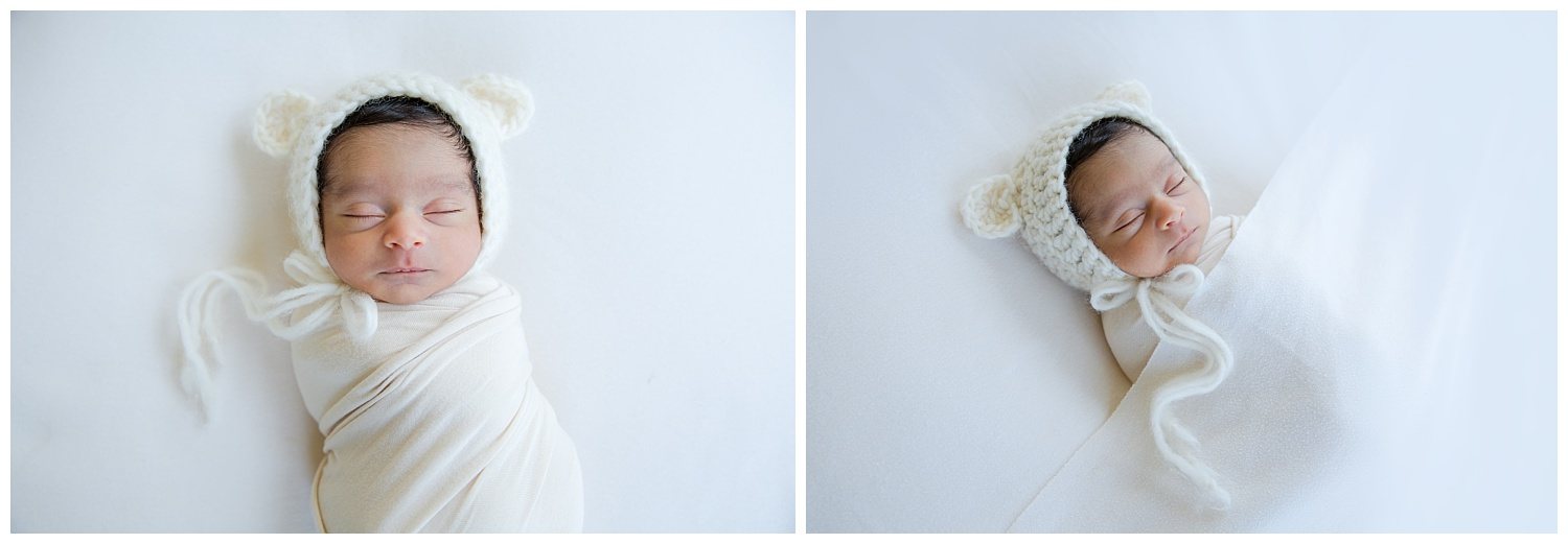 indian baby boy wearing a cream bear hat in voorhees new jersey photo shoot