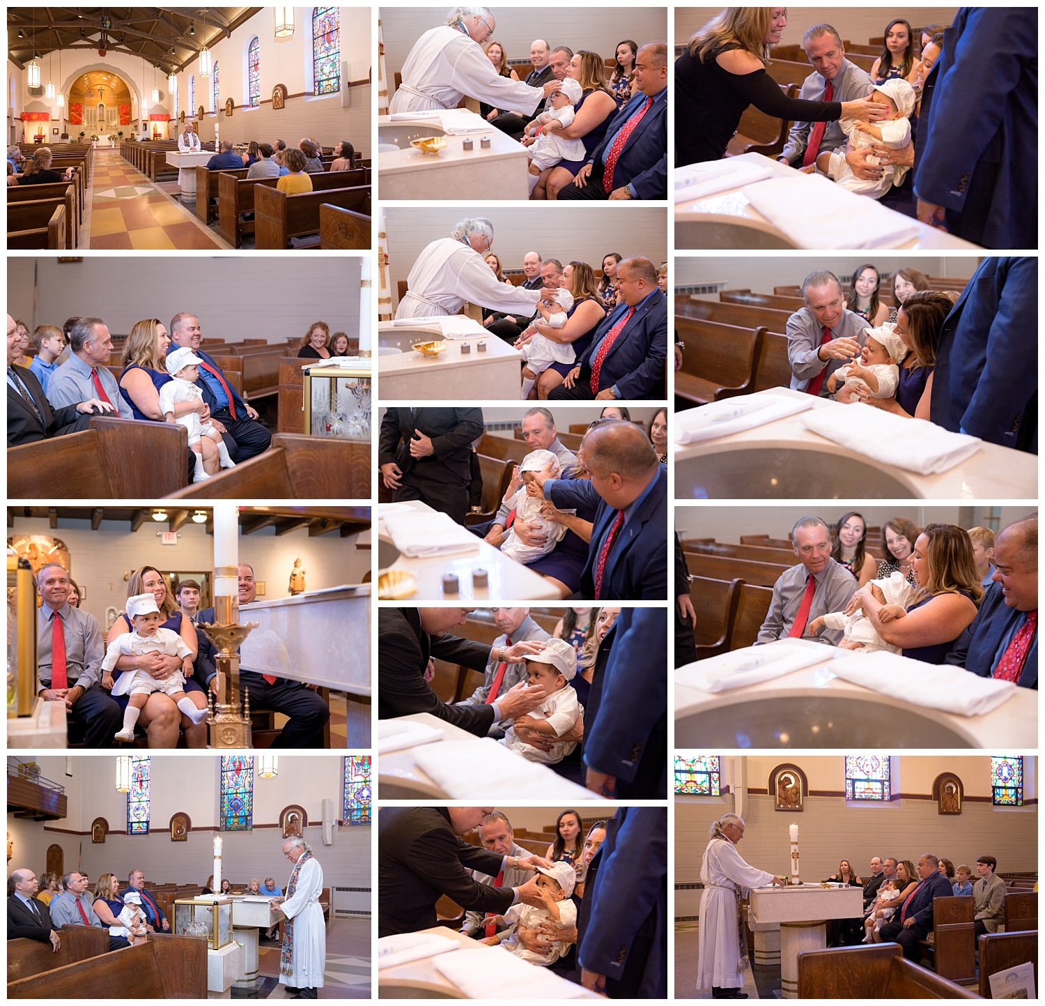 priest performing a baptism on haddonfield new jersey church