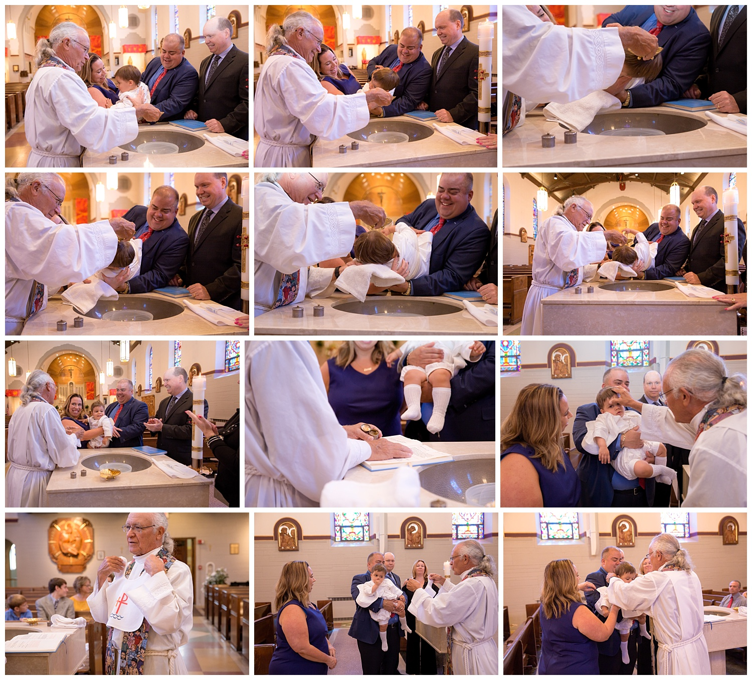 baby boy being baptism in holy water in haddonfield new jersey church