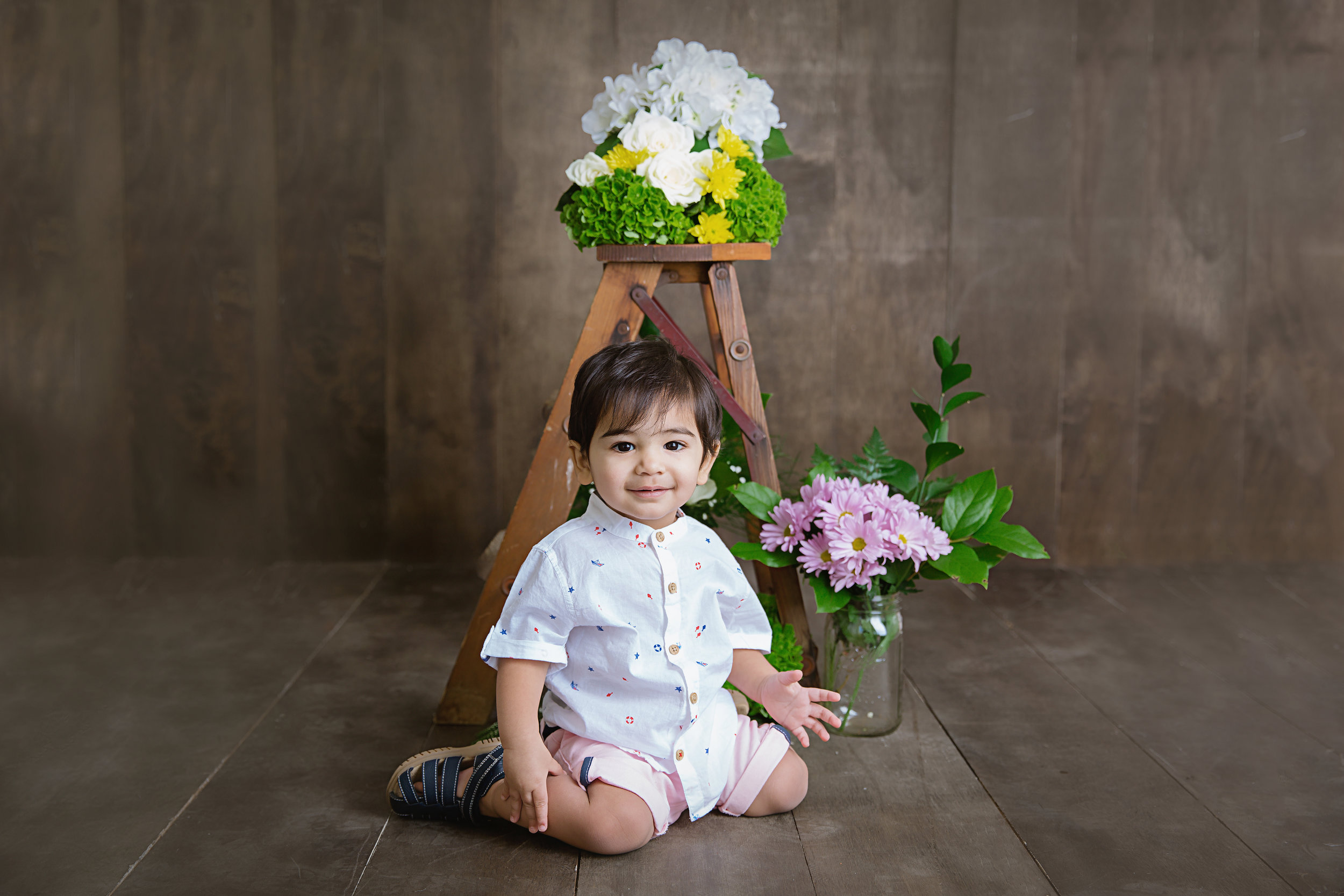 sitting with the flowers