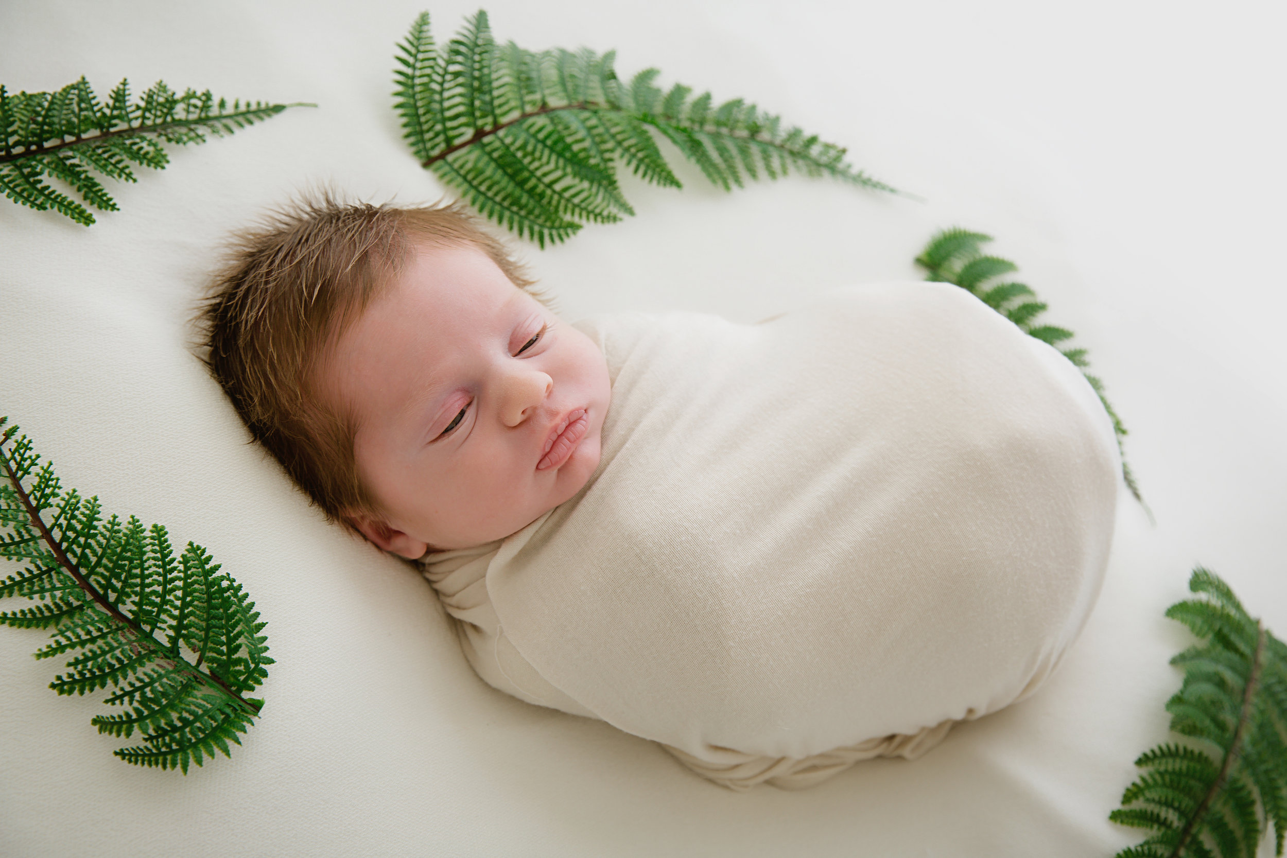 sleeping baby boy with greenery