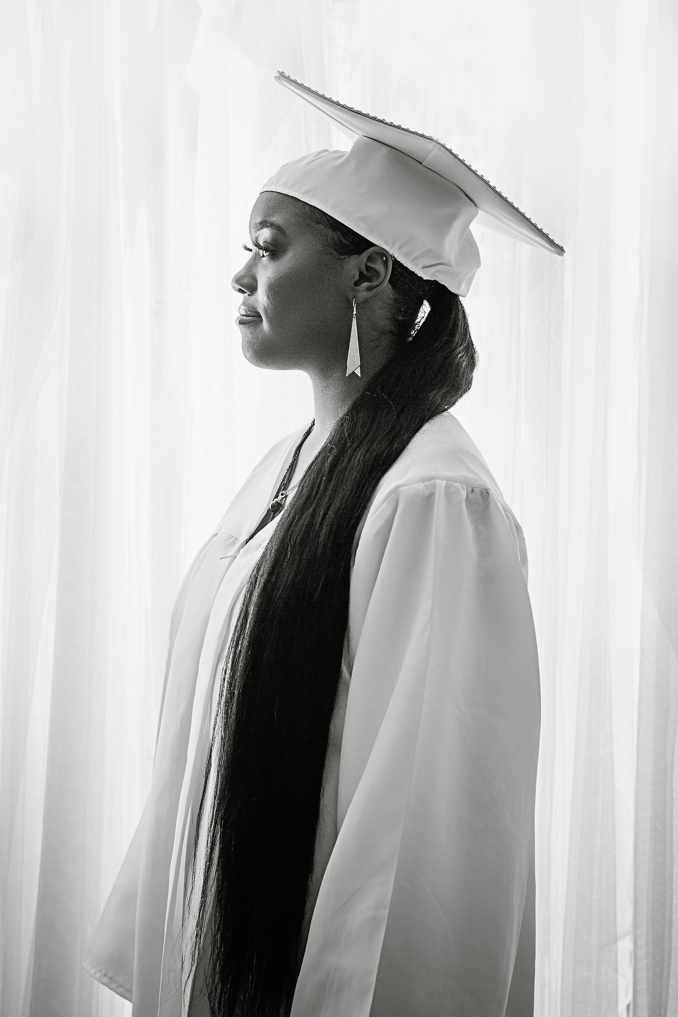 black and white senior portrait