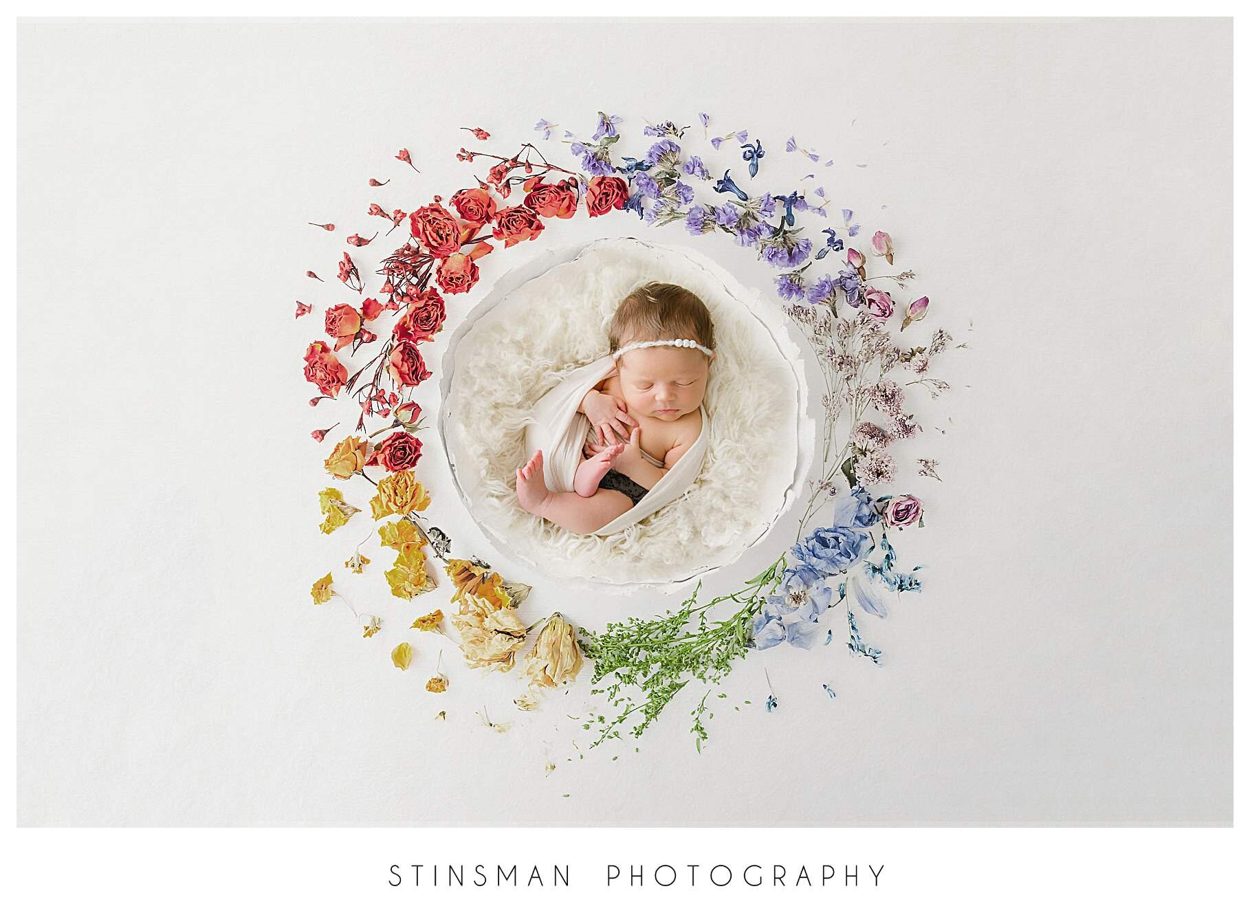 rainbow baby with flowers digital backdrop