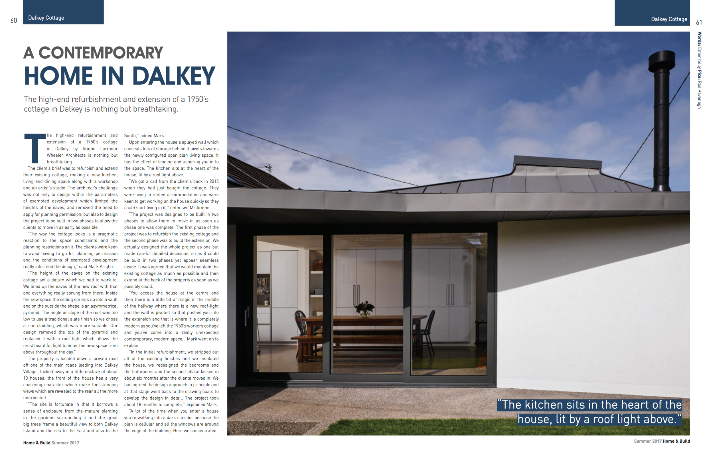 Our recenlty completed Dalkey Cottage project features in this months Home and Build Magazine