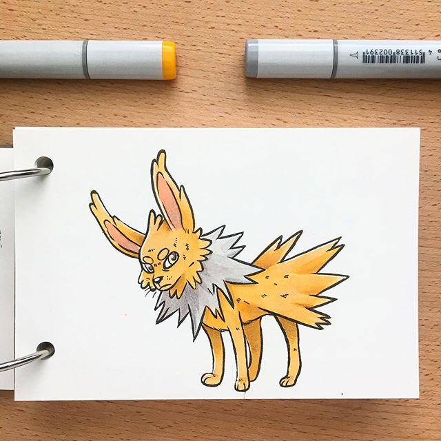 Excited for #detectivepikachu this weekend! I just hope I get to see a jolteon in his spiky glory❤️ . . . . .  #sketch #pokemon #jolteon #copics #sketchbook #illustration #artdaily #draw #artgram #artistsofinstagram #drawing #paper #instadraw #instaart #gallery #creative #artsagram #instaartist #doodle