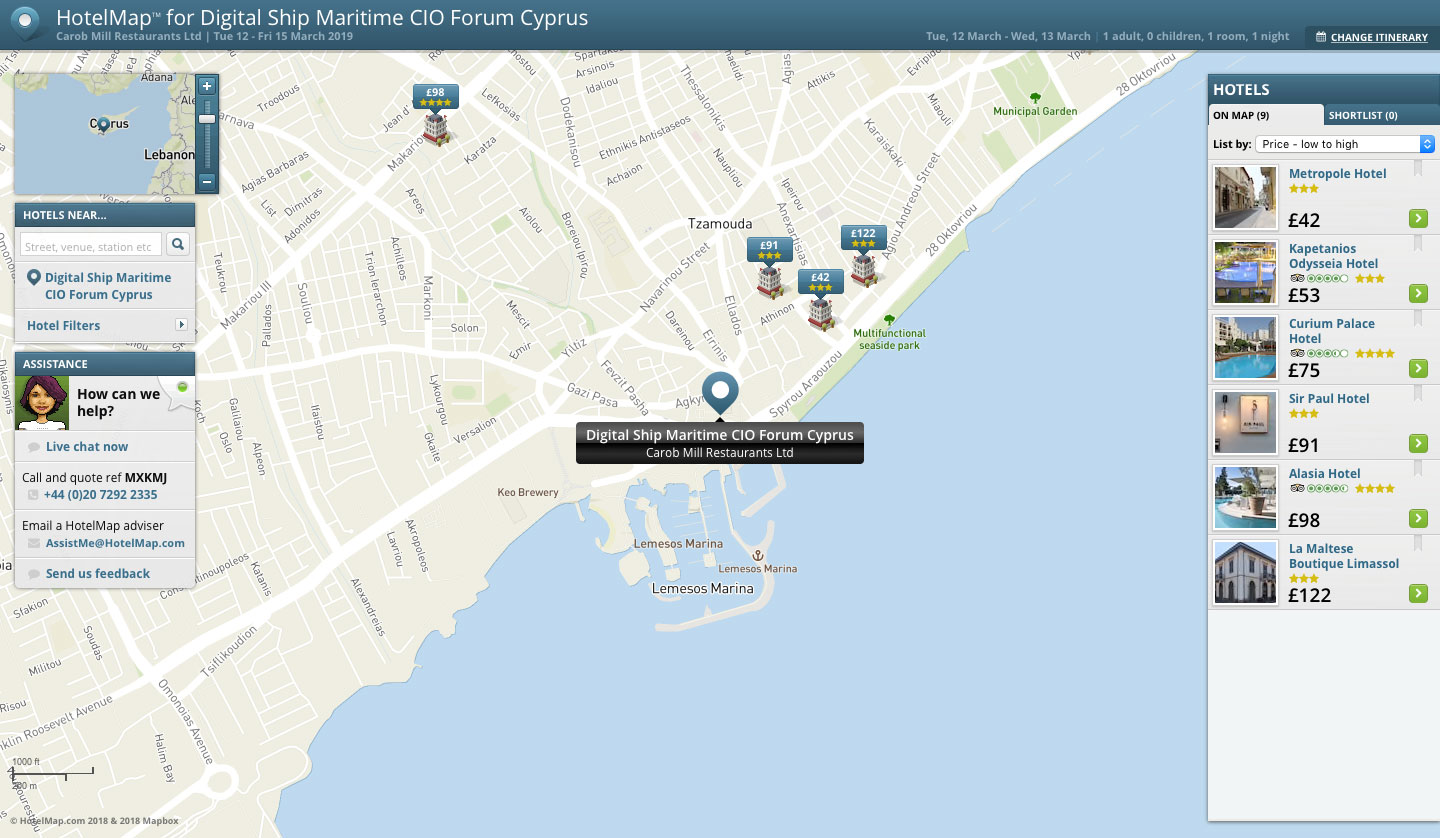 Digital Ship's Maritime CIO Forum Cyprus 2019 HotelMap
