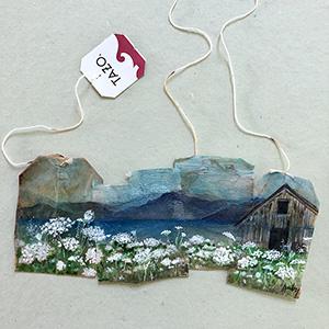 Watercolor on used tea bags, 2019