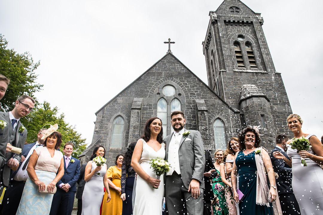 Monaleen Church Wedding Limerick. Confetti exit.